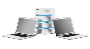 Concepto de la base de datos con los ordenadores portátiles Foto de archivo