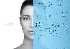Concepto de la belleza con la capa de hidrataci?n del agua foto de archivo