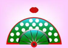 Concepto de la belleza, icono y labios rojos, ejemplo de la fan del flamenco del vector Foto de archivo