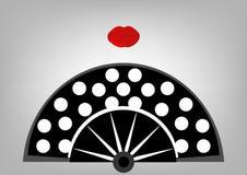 Concepto de la belleza, icono y labios rojos, ejemplo de la fan del flamenco del vector Fotos de archivo libres de regalías