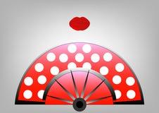 Concepto de la belleza, icono y labios rojos, ejemplo de la fan del flamenco del vector Fotografía de archivo libre de regalías