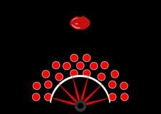 Concepto de la belleza, icono y labios rojos, ejemplo de la fan del flamenco del vector Foto de archivo libre de regalías
