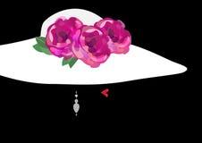 Concepto de la belleza, logotipo, cosmético natural, salón de belleza, sombrero con las flores, ejemplo del ` s de la mujer del v Imagenes de archivo