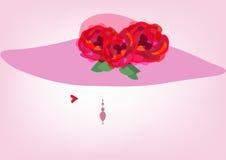 Concepto de la belleza, logotipo, cosmético natural, salón de belleza, sombrero con las flores, ejemplo del ` s de la mujer del v Imagen de archivo