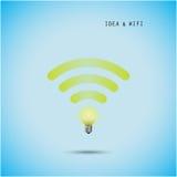Concepto de la bombilla y muestra creativos del wifi Foto de archivo