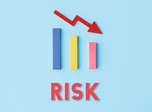 Concepto de la caída de la dificultad del riesgo de la deuda Foto de archivo libre de regalías