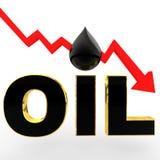 concepto de la caída de precios del aceite 3d Imagen de archivo libre de regalías
