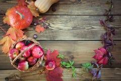 Concepto de la caída Hojas de otoño coloridas con el espacio de la copia en el tablero de madera Imagen de archivo libre de regalías