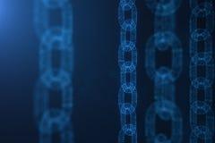 Concepto de la cadena de bloque, tecnología digital de la cadena de bloque Cryptocurrency, concepto de código digital Rejilla pol foto de archivo