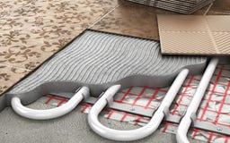 Concepto de la calefacción Calefacción por el suelo stock de ilustración