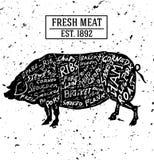 Concepto de la carnicería aislado en blanco y ruido Símbolo del corte de la carne, b Imagen de archivo libre de regalías