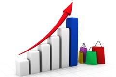 Concepto de la carta de crecimiento de las ventas Fotos de archivo