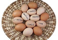 Concepto de la cartera de inversiones del huevo de la cesta Fotografía de archivo