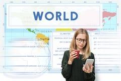 Concepto de la cartografía del mundo de la latitud de la longitud fotos de archivo libres de regalías
