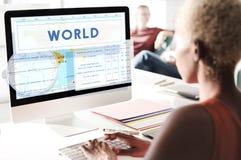 Concepto de la cartografía del mundo de la latitud de la longitud fotografía de archivo libre de regalías