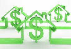 Concepto de la casa con la muestra de dólar Imagen de archivo libre de regalías