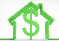 Concepto de la casa con la muestra de dólar Imagen de archivo