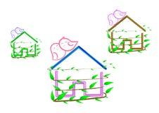 Concepto de la casa verde y de la colonia del pájaro del amor de ambiente pacífico imagen de archivo