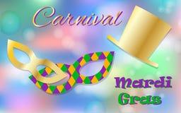 Concepto de la celebración de Mardi Gras con tipografía de oro de la máscara y del sombrero y de las letras en un fondo colorido  Foto de archivo libre de regalías