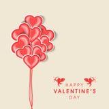 Concepto de la celebración del día de tarjeta del día de San Valentín con el globo de la forma del corazón ilustración del vector