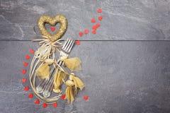 Concepto de la cena de la tarjeta del día de San Valentín Fotos de archivo libres de regalías