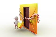concepto de la cerradura del correo del hombre 3d Imagen de archivo