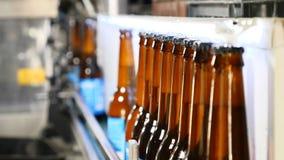 Concepto de la cervecería Fábrica de la cerveza Línea de embotellamiento automática de la cerveza Cola de botellas llenadas lista metrajes