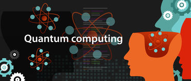 Concepto de la ciencia de la tecnología de la física de la computación de Quantum stock de ilustración