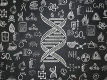 Concepto de la ciencia: DNA en fondo del consejo escolar ilustración del vector