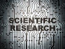 Concepto de la ciencia: placa de circuito con la investigación científica Fotos de archivo libres de regalías