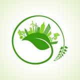Concepto de la ciudad de Eco con la hoja Imágenes de archivo libres de regalías