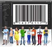 Concepto de la codificación del interfaz de la encripción del código de barras fotos de archivo