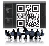 Concepto de la codificación del interfaz de la encripción del código de QR foto de archivo
