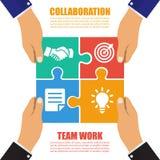 Concepto de la colaboración Cooperación, trabajo en equipo Rompecabezas acertado de la solución Símbolo de la sociedad Vector, di libre illustration