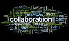 Concepto de la colaboración en nube de la etiqueta de la palabra Imagenes de archivo