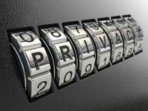 Concepto de la combinación de la contraseña de la privacidad, imagen tridimensional Foto de archivo