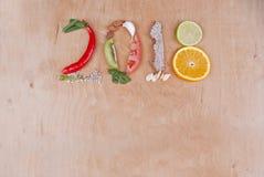 Concepto 2018 de la comida Fotografía de archivo