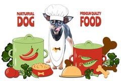 Concepto de la comida de perros, alimento para animales sano Cocinado con amor Foto y ejemplo, estilo de la historieta stock de ilustración