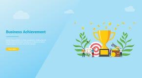 Concepto de la compañía del achivement de la meta de negocio para homepage o el aterrizaje - vector de la plantilla del diseño de libre illustration
