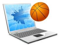 Concepto de la computadora portátil de la bola del baloncesto Imagen de archivo