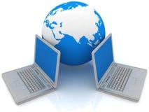 Concepto de la computadora portátil y del globo Fotografía de archivo libre de regalías