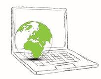 Concepto de la computadora portátil y del globo Foto de archivo libre de regalías