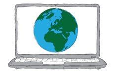 Concepto de la computadora portátil y del globo Imagenes de archivo