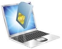 Concepto de la computadora portátil del icono de la tarjeta del teléfono SIM Foto de archivo libre de regalías
