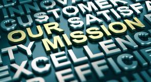 Concepto de la comunicación corporativa, nuestra misión stock de ilustración