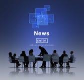 Concepto de la comunicación de la actualización del informe de información del noticiario fotos de archivo libres de regalías