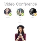 Concepto de la comunicación de la red de la audioconferencia fotografía de archivo