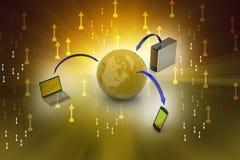 Concepto de la comunicación de la red global y de Internet Imagen de archivo libre de regalías