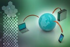 Concepto de la comunicación de la red global y de Internet