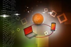 Concepto de la comunicación de la red global y de Internet ilustración del vector